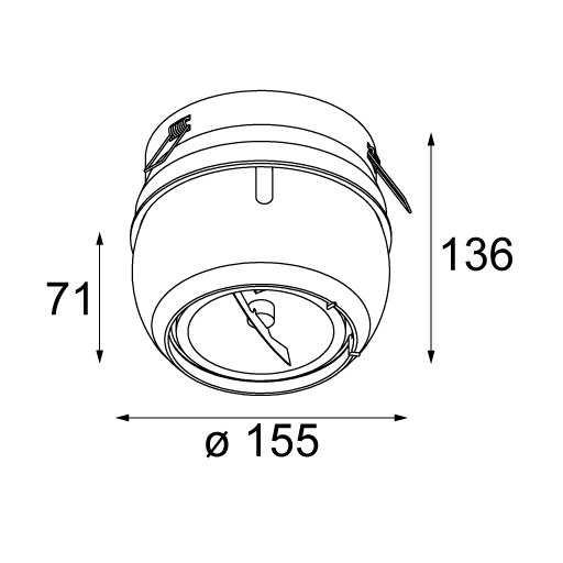 Bolster recessed 155 for LED GU10 AR111 tekening