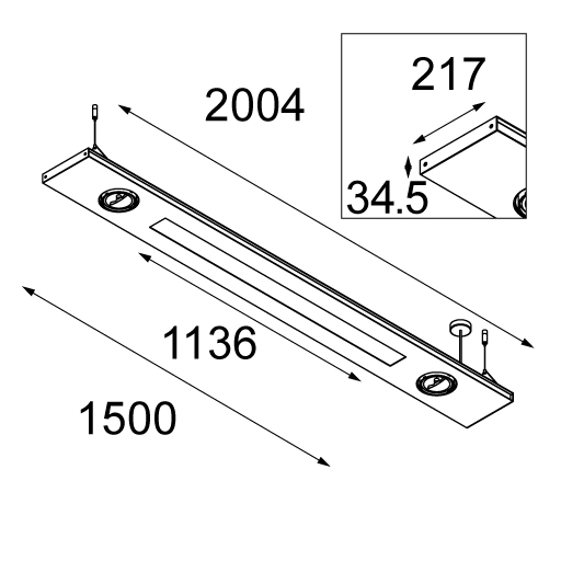 2FLAT2C suspended TL5 poly up/down / AR111 down GI tekening